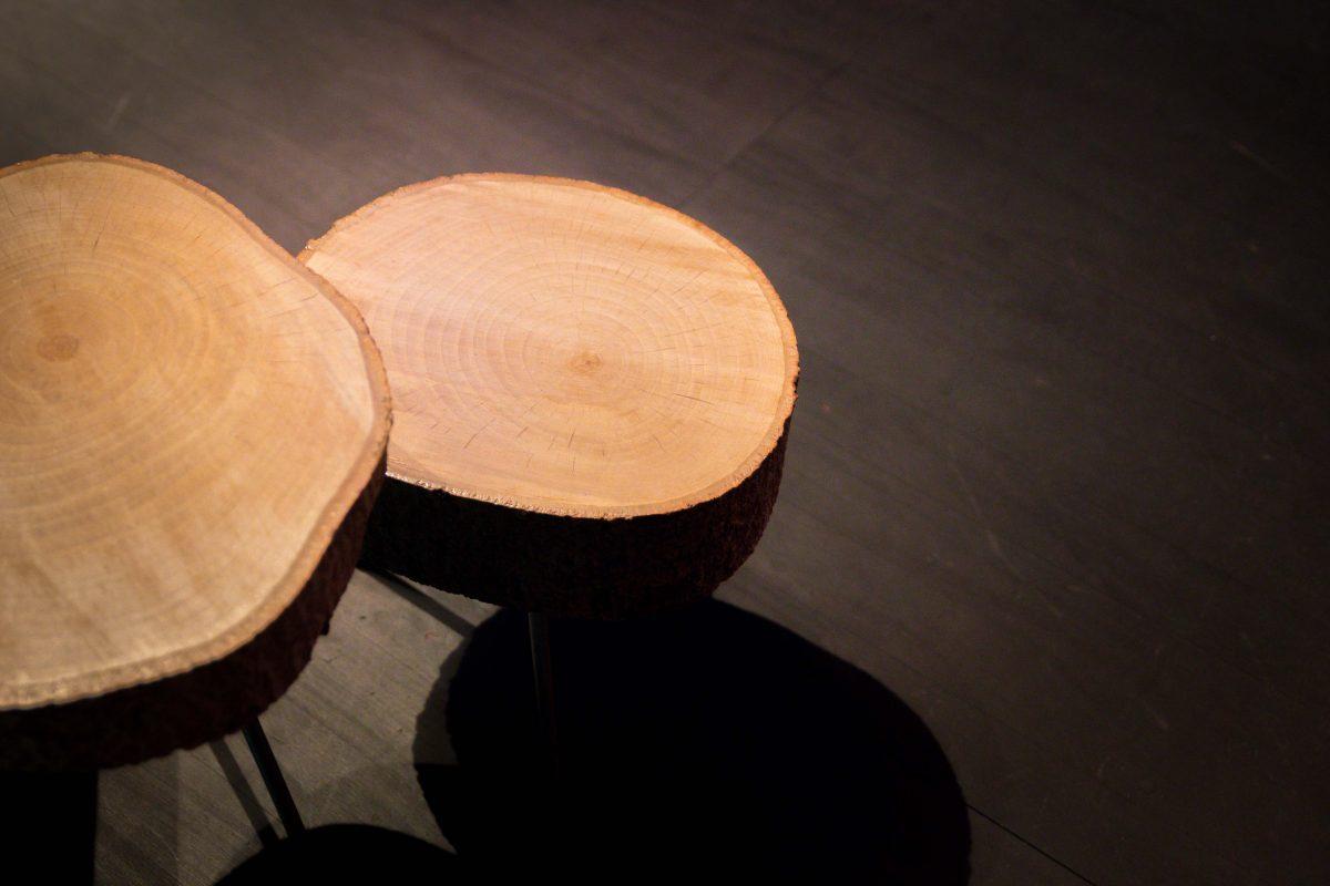 deux tables basses en rondins de bois, création agence Parade