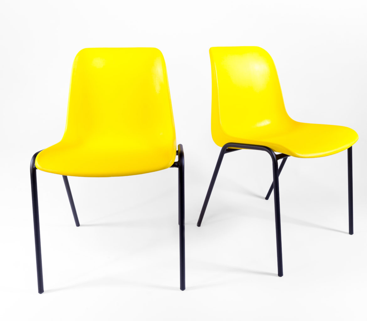 Chaise plastique jaune for Chaise jaune design