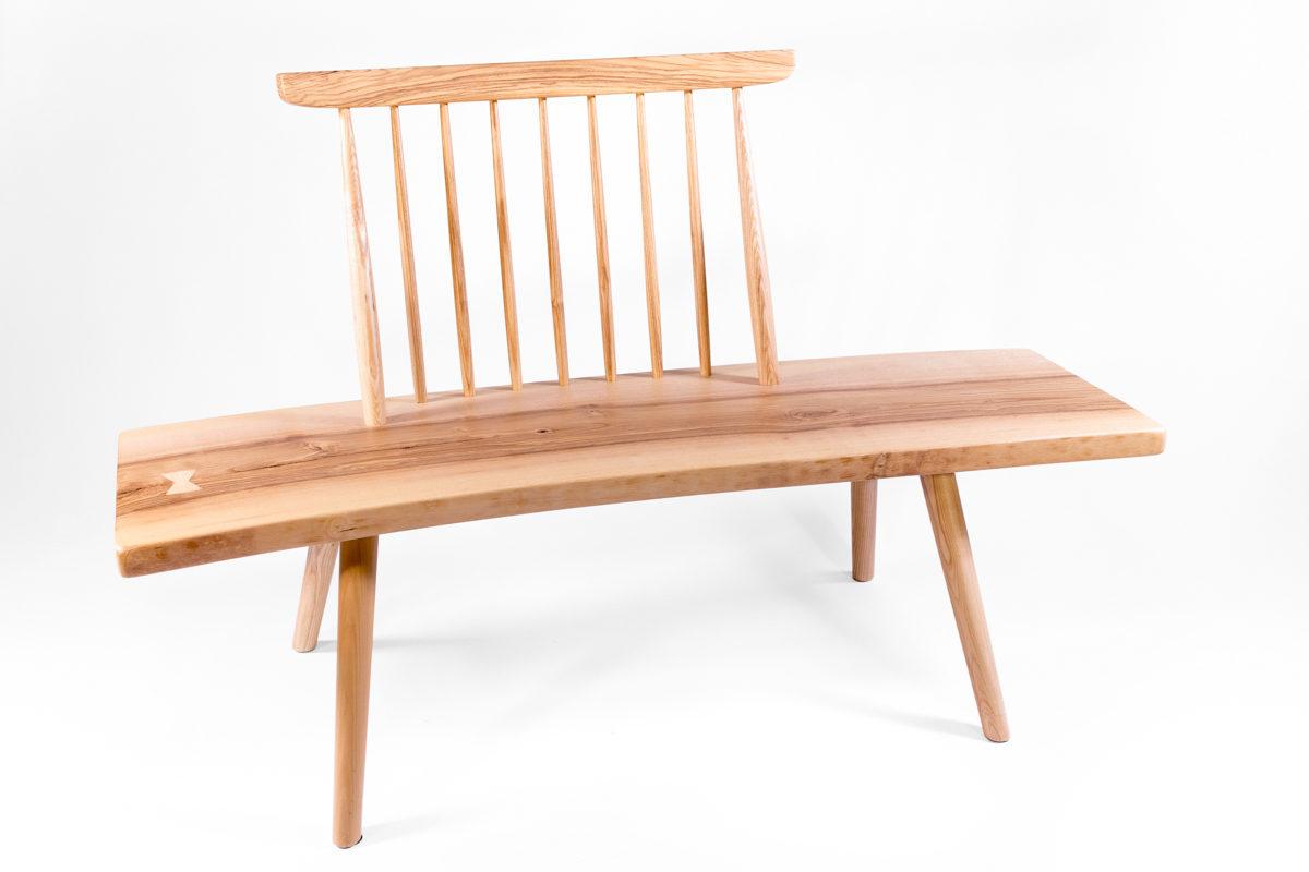 banc en bois avec dossier Pols Potten, design scandinave, bois massif, agence Parade