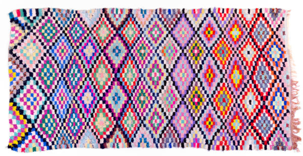 tapis boucherouite vintage, multicolore, rose, agence Parade