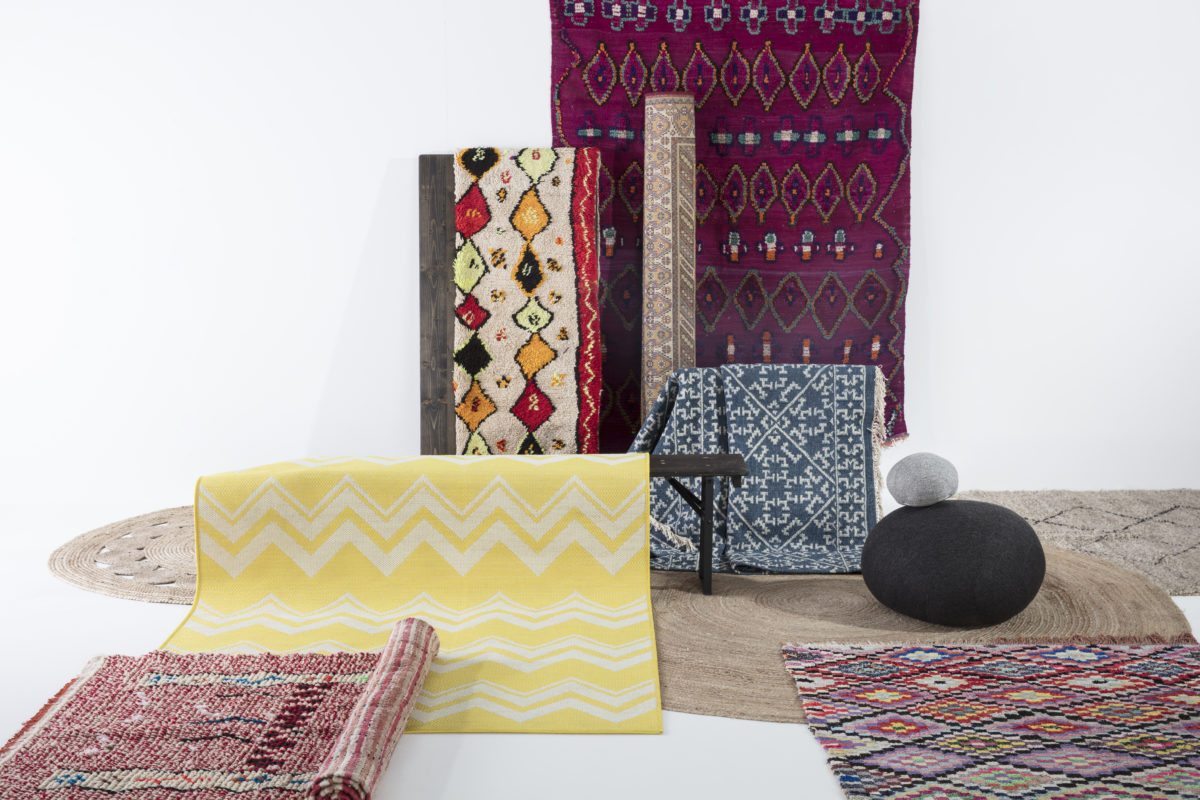 divers tapis en jute, tapis marocains, tapis boucherouite agence Parade