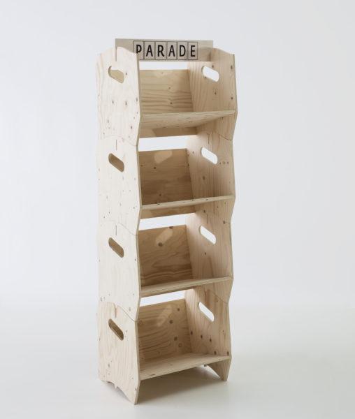 présentoir en bois, agence PARADE